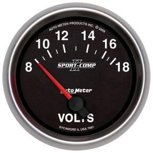 AUTO METER #7691 2-5/8 Gauge Voltmeter 18V Electric Sport-Comp