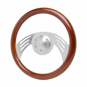 RACING POWER CO-PACKAGED #R5880 14in Aluminum Wooden Steering Wheel