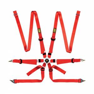 OMP RACING INC. #DA0202VHSLUD061 ONE 2 Harness Red Pull Up And Down Clip In