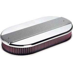 BILLET SPECIALTIES #15650 Dual Quad Ribbed Oval Air Cleaner
