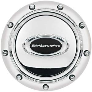 BILLET SPECIALTIES #32715 Horn Button Riveted Polished w/Black Logo