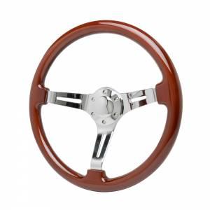 RACING POWER CO-PACKAGED #R5860 15in Chrome Steering Wheel Wood Wrap