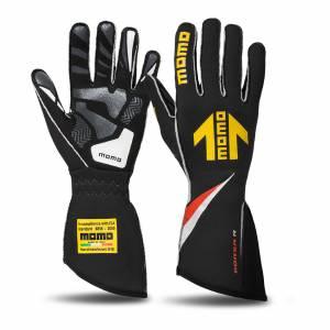 MOMO AUTOMOTIVE ACCESSORIES #GUCORSABLK10 Corsa R Gloves External Stitch Precurved Medium