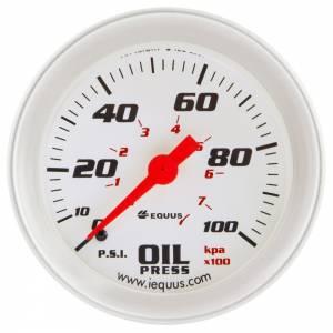 EQUUS #E8444 2-5/8 Dia Oil Pressure Gauge Silver  0-100psi