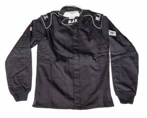 RJS SAFETY #200430105 Jacket Black Large SFI-3-2A/5 FR Cotton