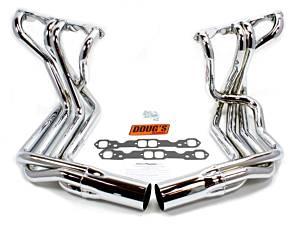DOUGS HEADERS #D380-C SBC Side Mount Headers - Chrome - 63-82 Vette