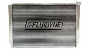 FLUIDYNE PERFORMANCE #FRP20-SLM-CM Radiator Dbl Pass w/Oil Cooler & Fan 28in x 19in