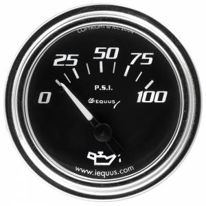EQUUS #E7234 2.0 Dia Oil Pressure Gauge Chrome  0-100psi
