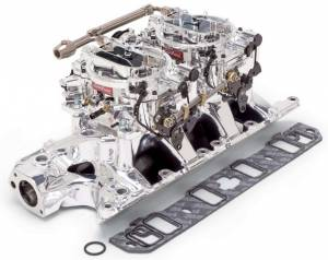 EDELBROCK #20354 SBF Dual Quad Manifold & Carb Kit - Endurashine