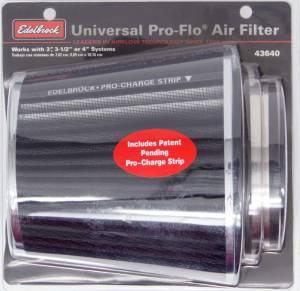 EDELBROCK #43640 Pro-Flo Air Filter Cone 6.70 Tall Black/Chrome