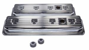 EDELBROCK #4446 SBC Signature Series Valve Cove Set - Chrome
