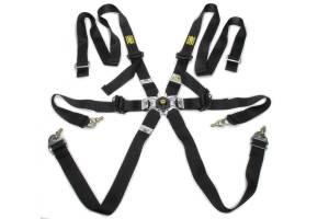 OMP RACING INC #DA0202HSL071 Safety Harness In Poly 6pt Black P/D Steel Adj