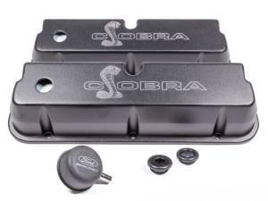 FORD #M-6582-LE302SBK SBF Valve Covers w/Cobra Logo Black