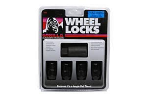 GORILLA #71631NBC 4 Wheel Locks 12mm x 1.5 Black Chrome