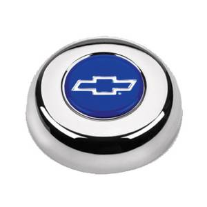 GRANT #5630 Chrome Horn Button Chevy Bowtie Blue/Silver
