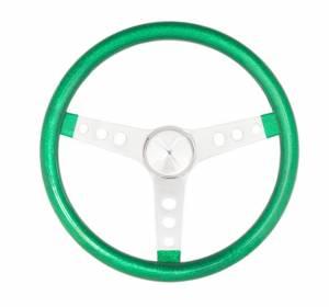 GRANT #8442 Steering Wheel Mtl Flake Green/Spoke Chrm 13.5