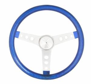 GRANT #8446 Steering Wheel Mtl Flake Blue/Spoke Chrm 13.5