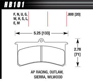 HAWK BRAKE #HB101U.800 Superlite/Xl DTC-70