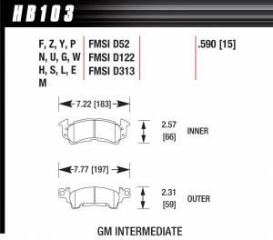 HAWK BRAKE #HB103G.590 Full Size GM DTC-60