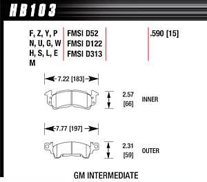 HAWK BRAKE #HB103U.590 Full Size GM DTC-70