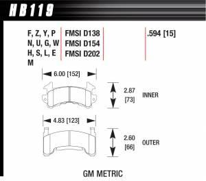HAWK BRAKE #HB119F.594 Performance Street Brake Pads (4)