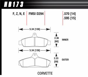 HAWK BRAKE #HB173N.570 Corvette HP Plus