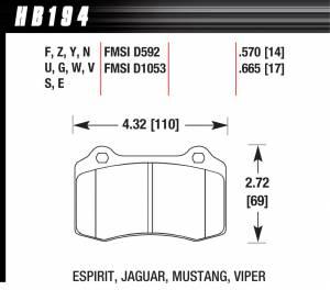 HAWK BRAKE #HB194F.570 Performance Street Brake Pads