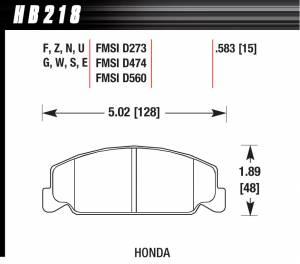 HAWK BRAKE #HB218E.583 Brake Pad Front Honda Blue Compound