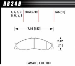 HAWK BRAKE #HB249F.575 Performance Street Brake Pads (4)