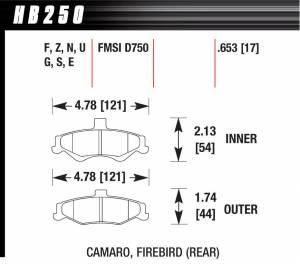HAWK BRAKE #HB250F.653 Performance Street Brake Pads (4)