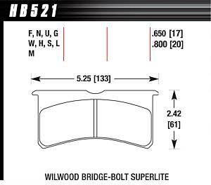 HAWK BRAKE #HB521U.800 SL Bridgebolt DTC-70