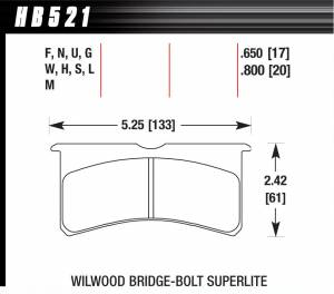 HAWK BRAKE #HB521W.800 SL Bridgebolt DTC-30