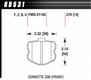 HAWK BRAKE #HB531N.570 2006 Corvette ZO6 HP Plus