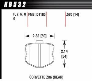 HAWK BRAKE #HB532F.570 2006 Corvette ZO6 HPS