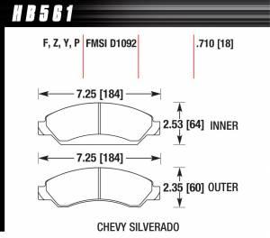 HAWK BRAKE #HB561F.710 Performance Street Brake Pads (4)