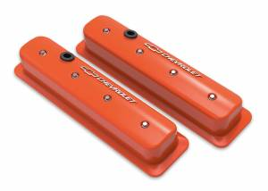 HOLLEY #241-293 SBC Muscle Car Valve Covers w/Holes Orange