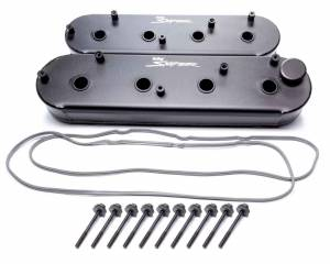 HOLLEY #890014B Sniper Fabricated Valve Covers  SGM LS Tall