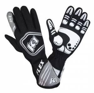 K1 RACEGEAR #23-FLX-NG-XL Glove Flex Black X-Large FIA / SFI 5