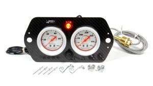 LONGACRE #52-44423 Sprint Car 2 Gauge Panel WT/ OP w/ Warning Light