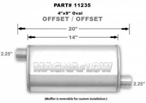 MAGNAFLOW PERF EXHAUST #11235 Stainless Muffler 2.25in. Offset In/Out
