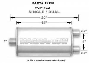 MAGNAFLOW PERF EXHAUST #12198 Stainless Muffler 3in Inlet/Dual 2.5in Out