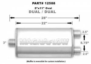 MAGNAFLOW PERF EXHAUST #12588 Stainless Muffler 3in Inlet/2.5in Dual Outlet