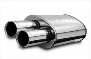 MAGNAFLOW PERF EXHAUST #14815 Stainless Muffler 2.25in In / Dual 3in Tips Out