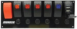 MOROSO #74194 Rocker LED Switch Panel w/Breakers & USB Ports