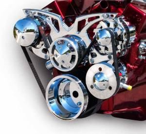 MARCH PERFORMANCE #21150 SBC Style Track Pulley Set Alt A/C with P/S