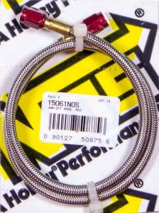NITROUS OXIDE SYSTEMS #15061NOS Braided Hose - 3an Red Fittings 24in Long