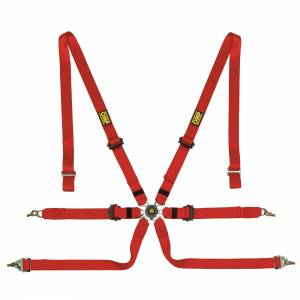 OMP RACING INC #DA0202HSL061 Safety Harness In Poly 6pt Red P/D Steel Adj