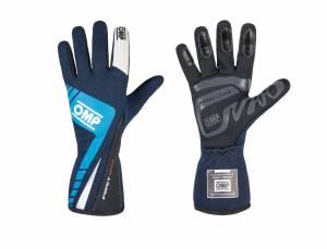 OMP RACING INC #IB/757E/BC/M First Evo Gloves MY2016 Blue/Cyan Medium