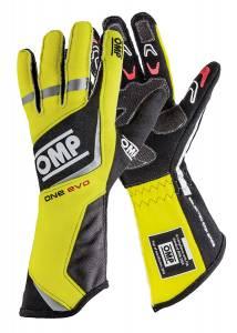 OMP RACING INC #IB/759/GF/L One Evo Gloves MY2015 Black/Fluo Yellow Lrg