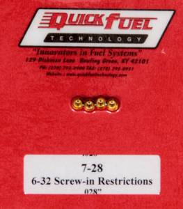 QUICK FUEL TECHNOLOGY #7-28QFT .028in- 6-32 Screw-in Restrictors (4pk)
